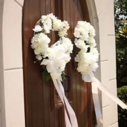 Summer Wedding Colors | Black and White Decorations | White Roses and Ribbon Door Decoration
