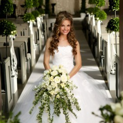 Spring Bride with Cascading Ivy and White Rose Bouquet