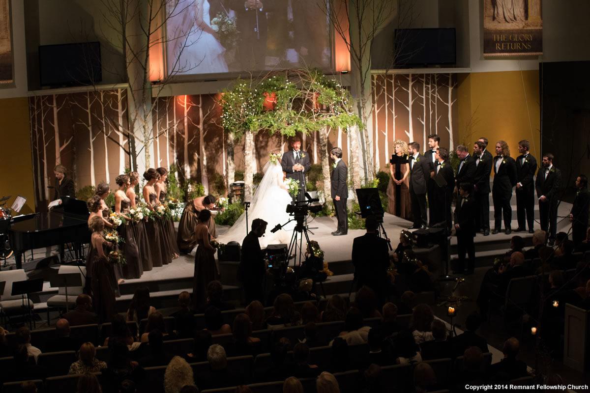 Fall Woodland Wedding Chuppah Decoration | Greenery and Twinkle Lights