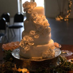 Summer Wedding Cake | Round Tiered Wedding Cake with Cascading Roses