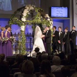 Summer Wedding Chuppah | Round Metal Chuppah Covered in Greenery and Ivy with Rose Accents