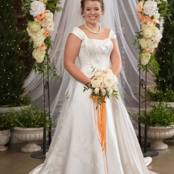 Summer Wedding Bride | White Traditional Lace Dress with Cap Sleeves. White Bouquet and Orange Ribbon