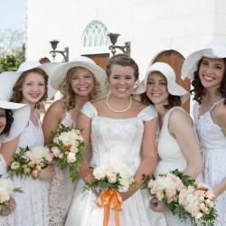 Summer White Wedding Bridesmaid Dresses. White Floppy Hats