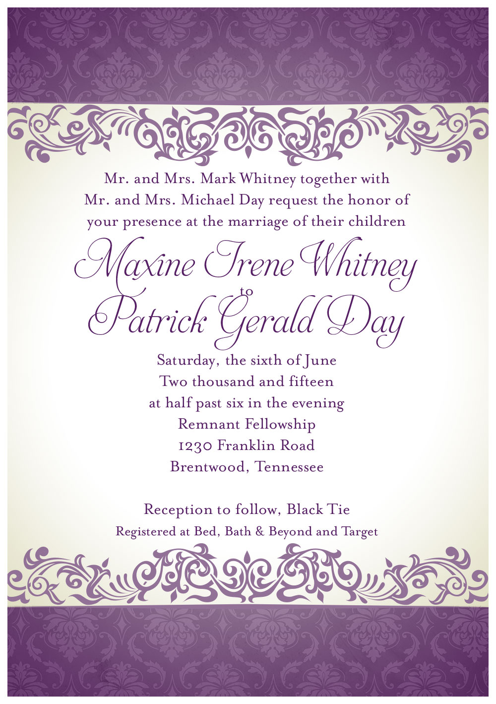 Day Whitney Wedding Invitation
