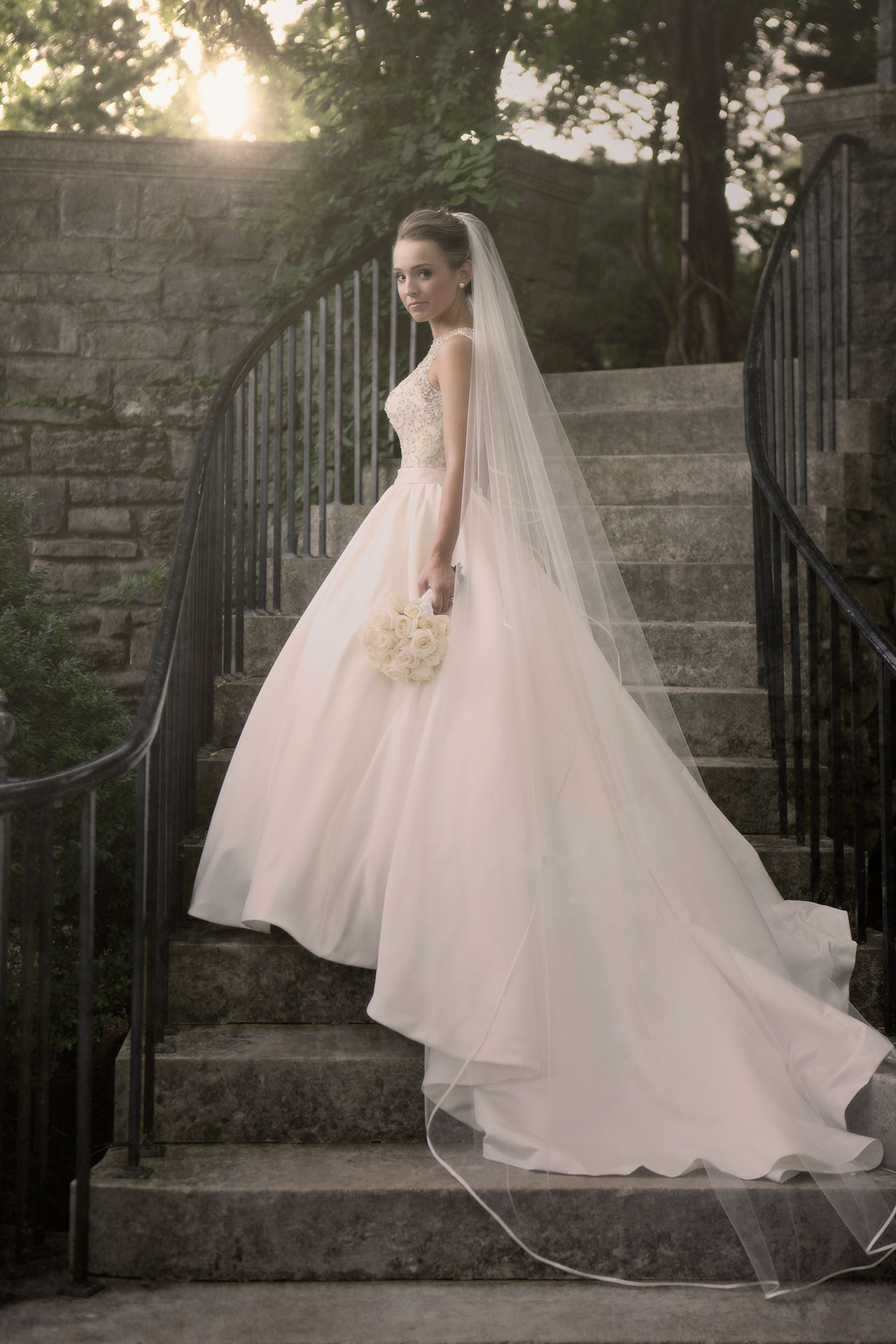 Cinderella Inspired Wedding Gown | Long Train, Cathedral Veil, Sparkle Top