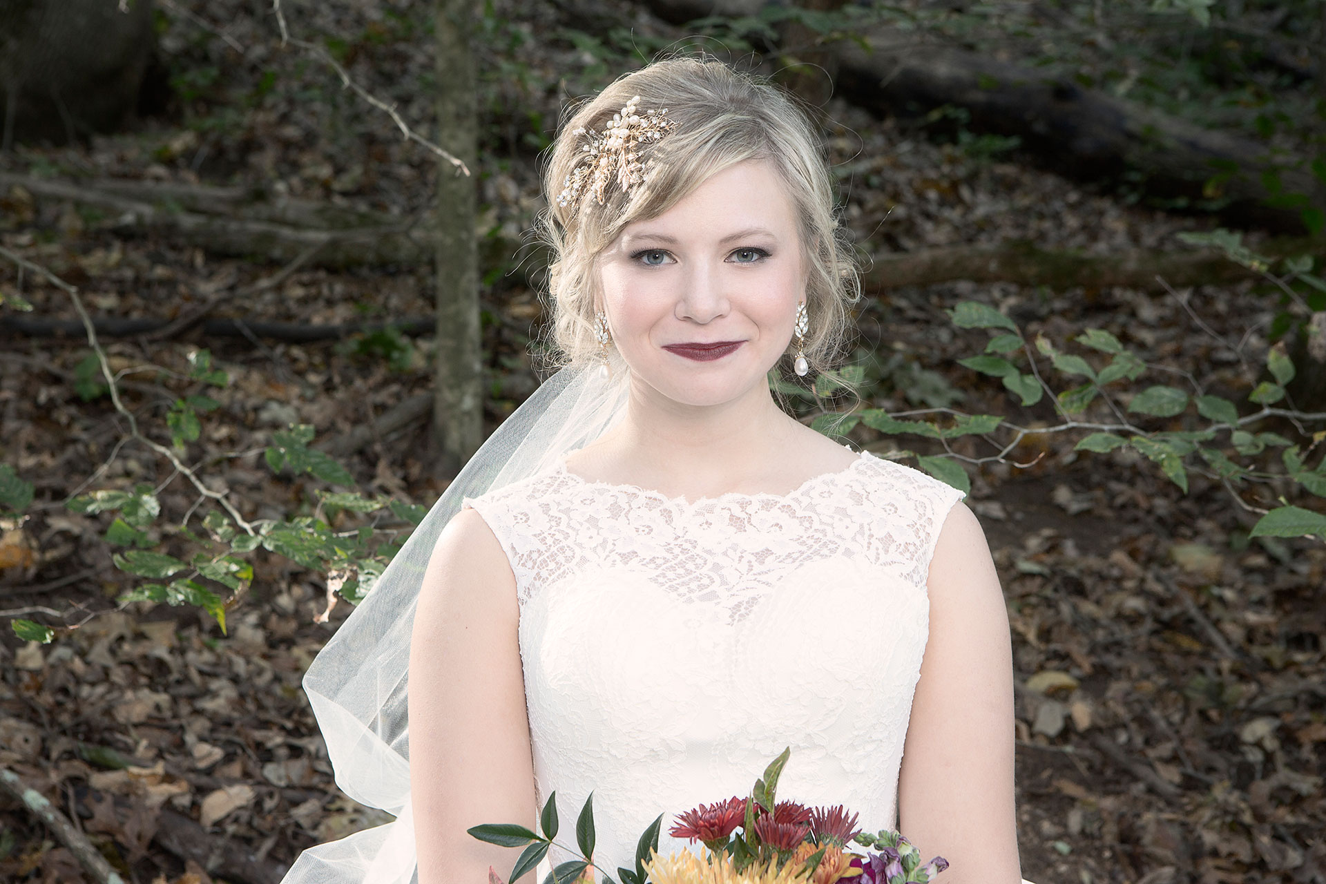 Fall Wedding Formal Bridal Chignon Hairstyle with Veil and Accessory