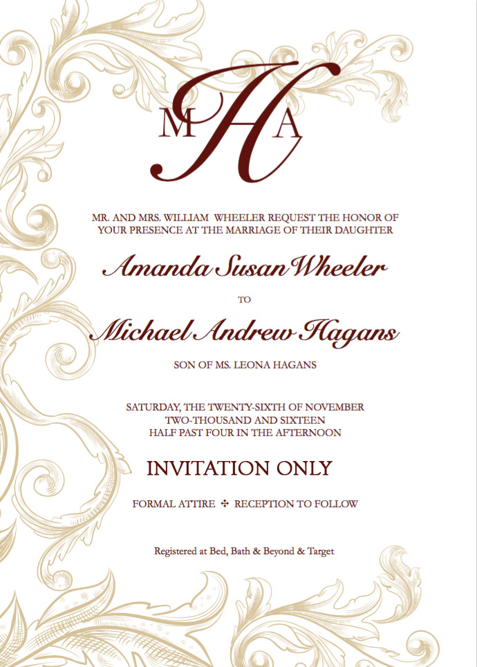 Hagans and Wheeler Wedding Invitation