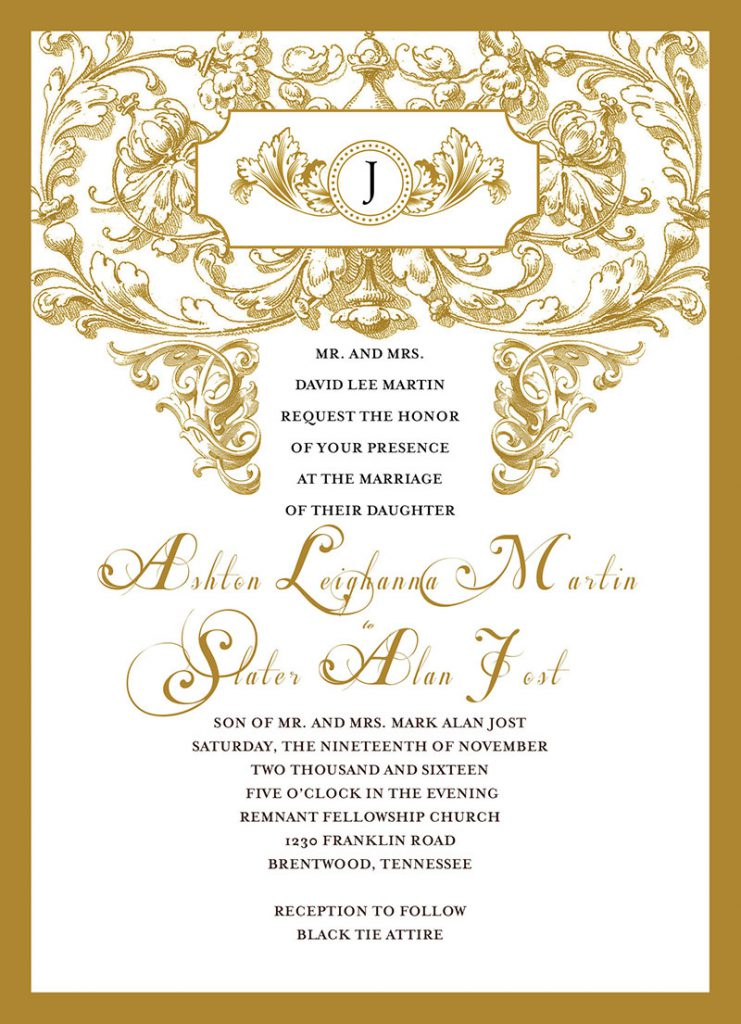 Slater Jost and Ashton Martin Wedding Invitation