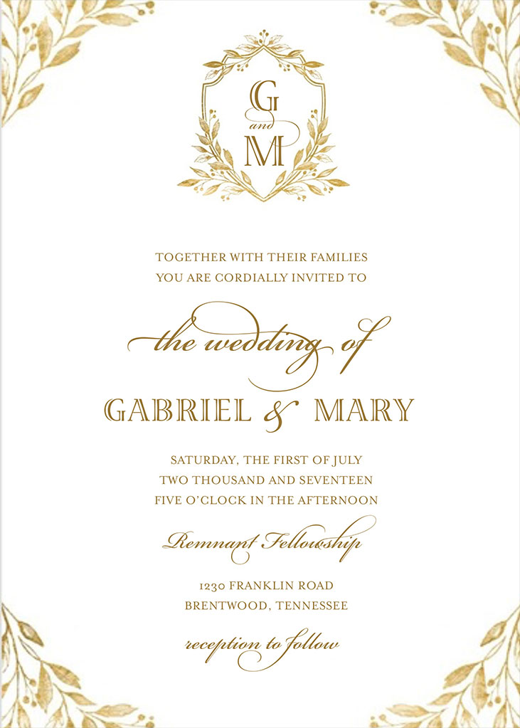 Mary Gormsen and Gabe Hamilton Wedding Invitation