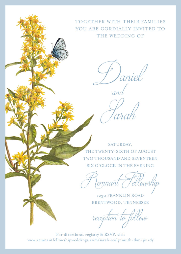 Sarah Wolgemuth and Dan Purdy Wedding Invitation