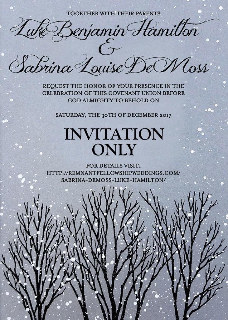 Sabrina DeMoss and Luke Hamilton Wedding Invitation
