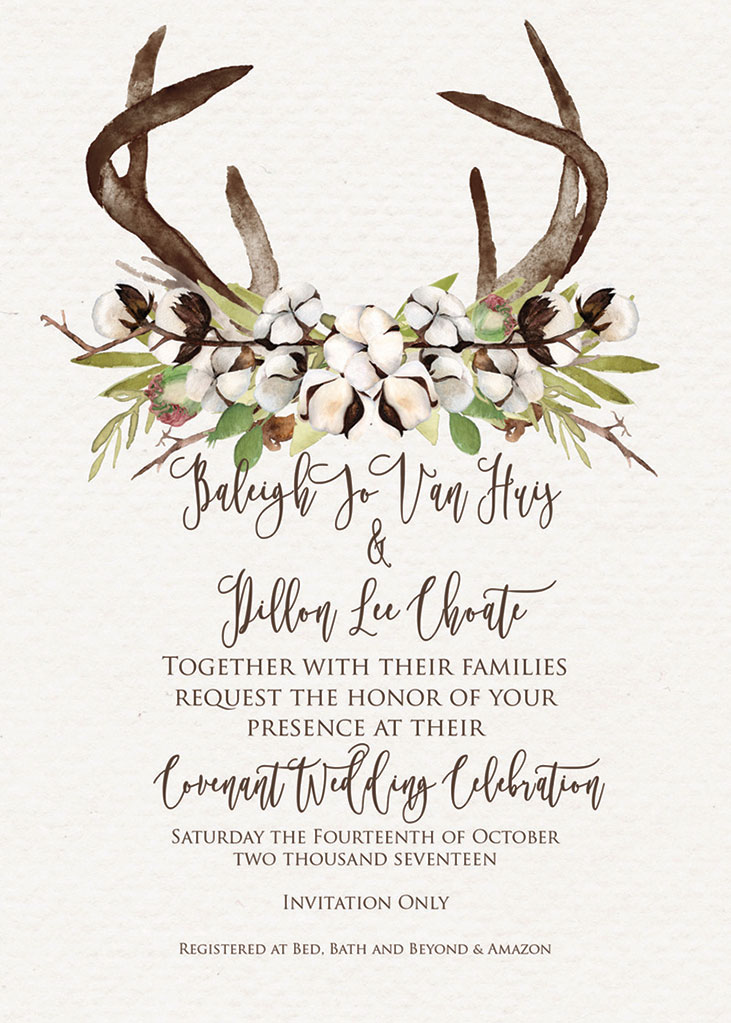 Baleigh VanHuis and Dillon Choate Wedding Invitation