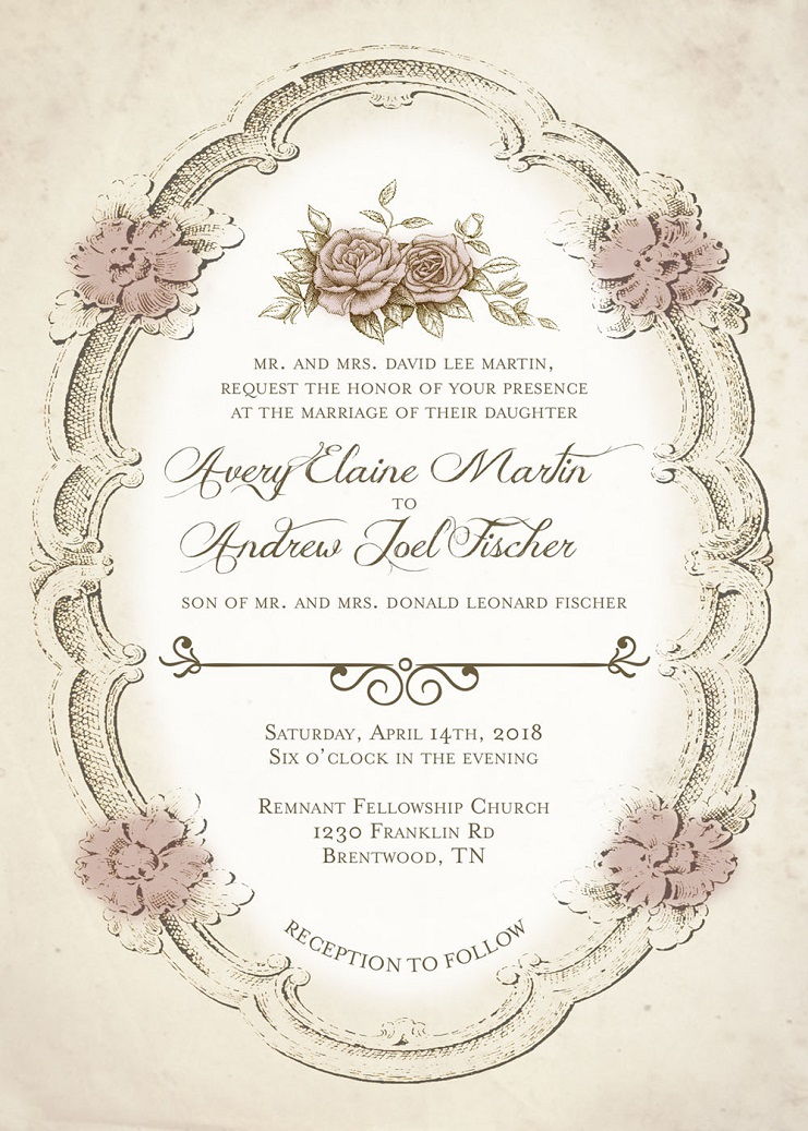 Martin-Fischer Remnant Fellowship Wedding Invitation