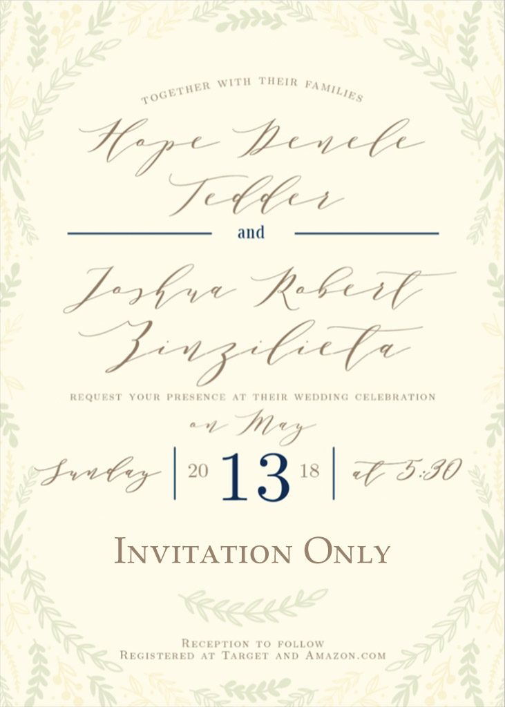 Tedder-Zinzilieta Remnant Fellowship Wedding Invitation
