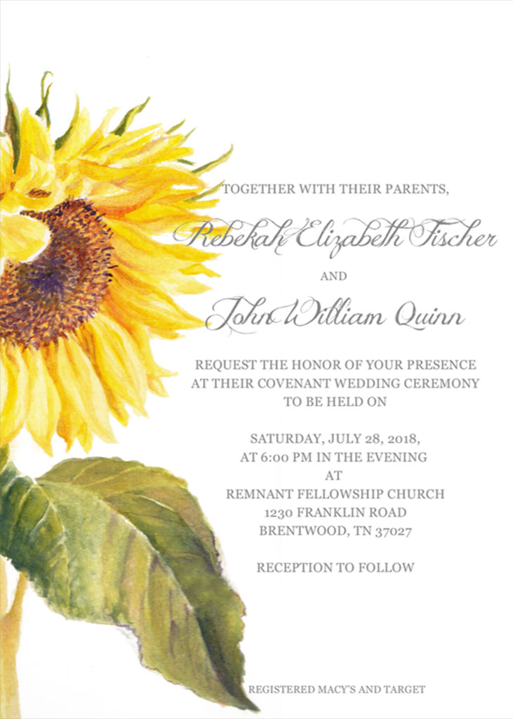 Fischer-Quinn Remnant Fellowship Wedding Invitation