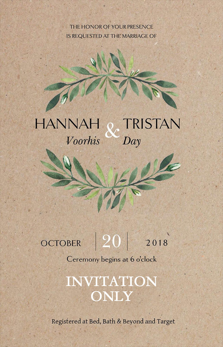 Voorhis-Day Remnant Fellowship Wedding Invitation