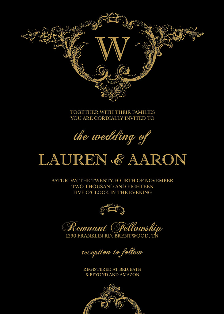 Lindgren-Wheeler Remnant Fellowship Wedding Invitation