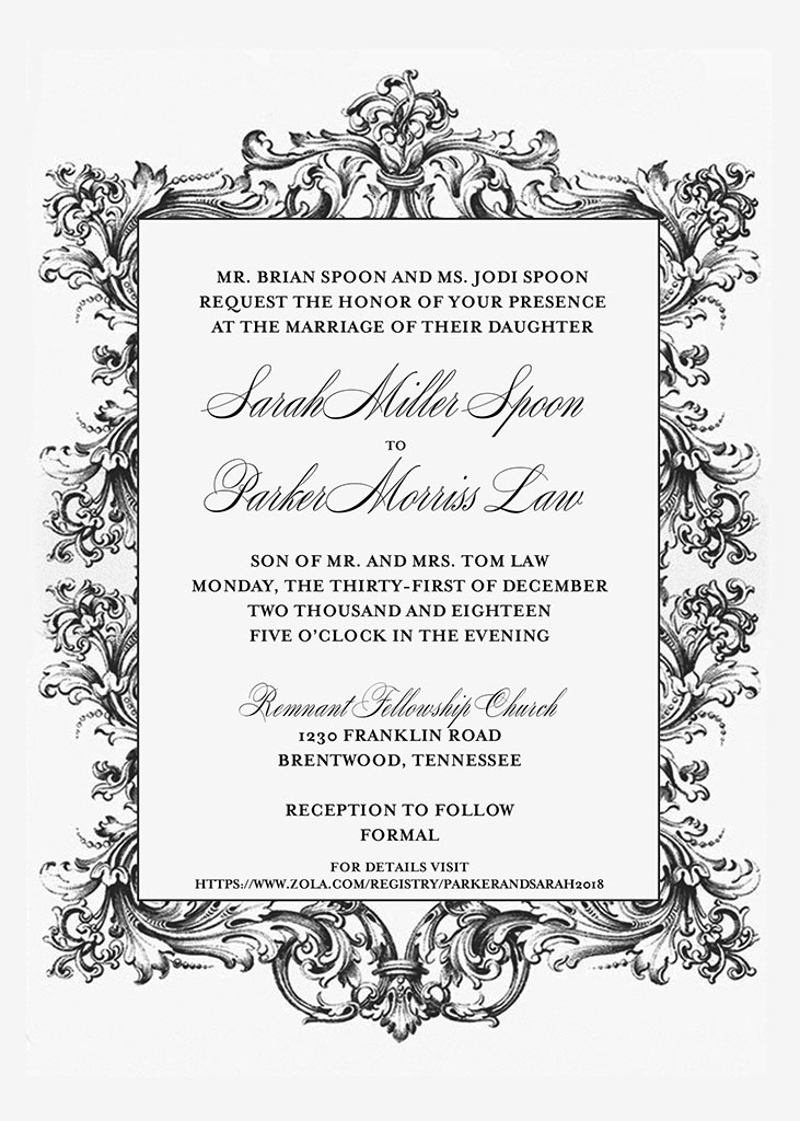 Spoon-Law Remnant Fellowship Wedding Invitation