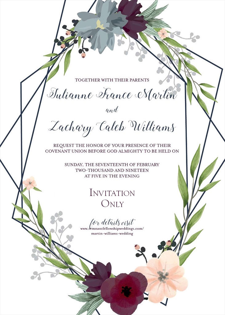 Martin-Williams Remnant Fellowship Wedding Invitation