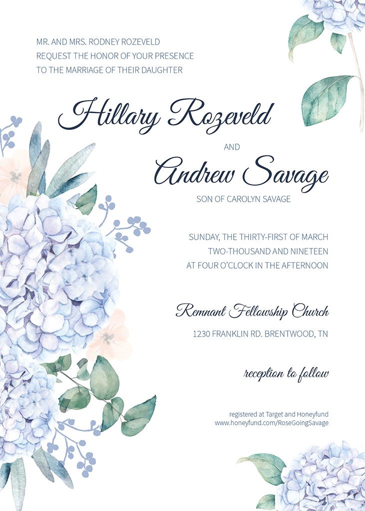 Rozeveld-Savage Remnant Fellowship Wedding Invitation