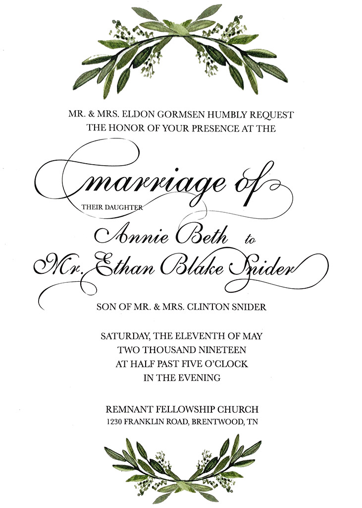 Gormsen-Snider Remnant Fellowship Wedding Invitation