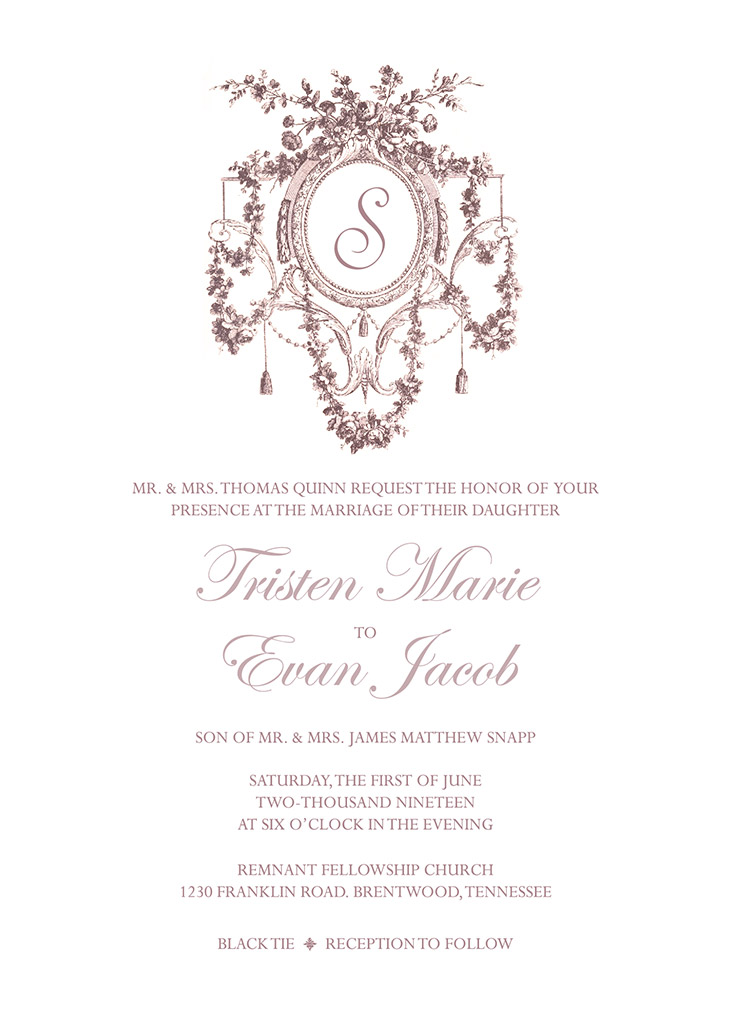 Quinn-Snapp Remnant Fellowship Wedding Invitation