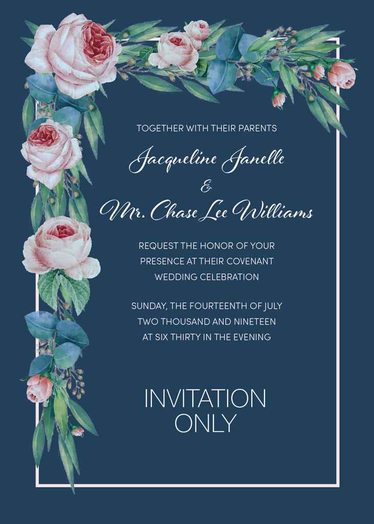 Williams-Williams Remnant Fellowship Wedding Invitation