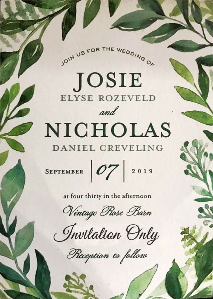 Creveling-Rozeveld Remnant Fellowship Wedding Invitation