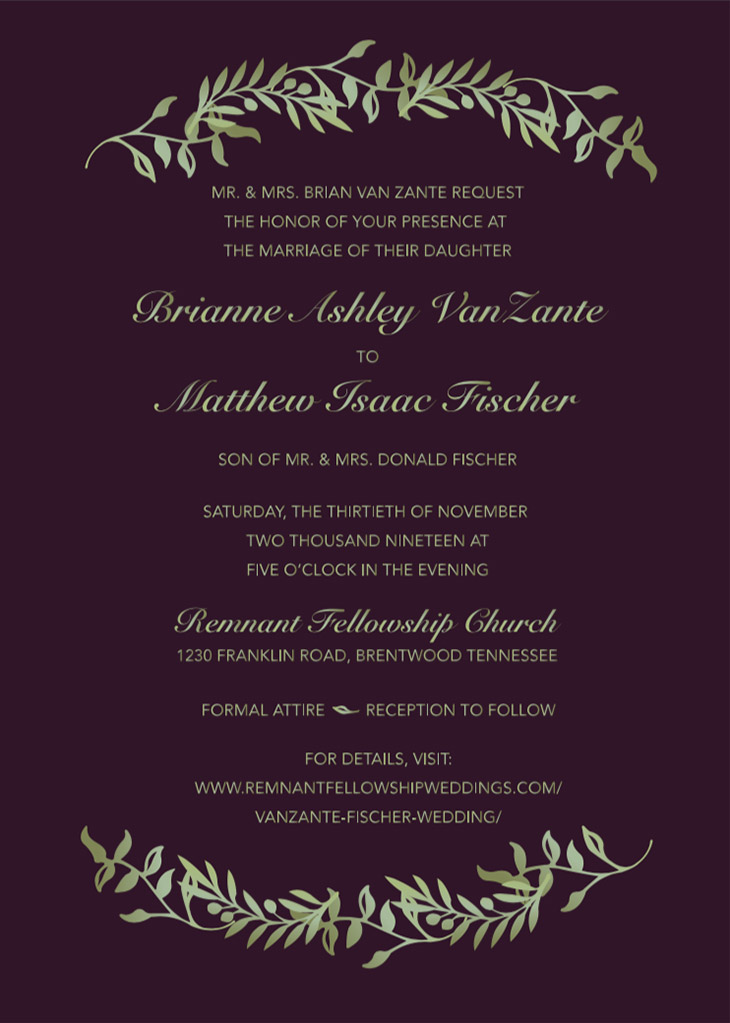Fickel-Weight Remnant Fellowship Wedding Invitation