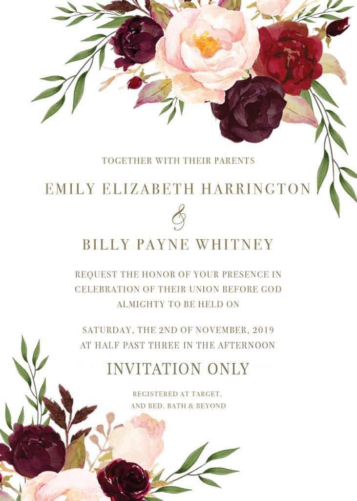 Harrington-Whitney Remnant Fellowship Wedding Invitation