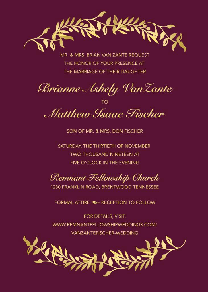 VanZante-Fischer Remnant Fellowship Wedding Invitation