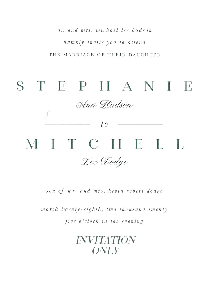 Hudson-Dodge Remnant Fellowship Wedding Invitation
