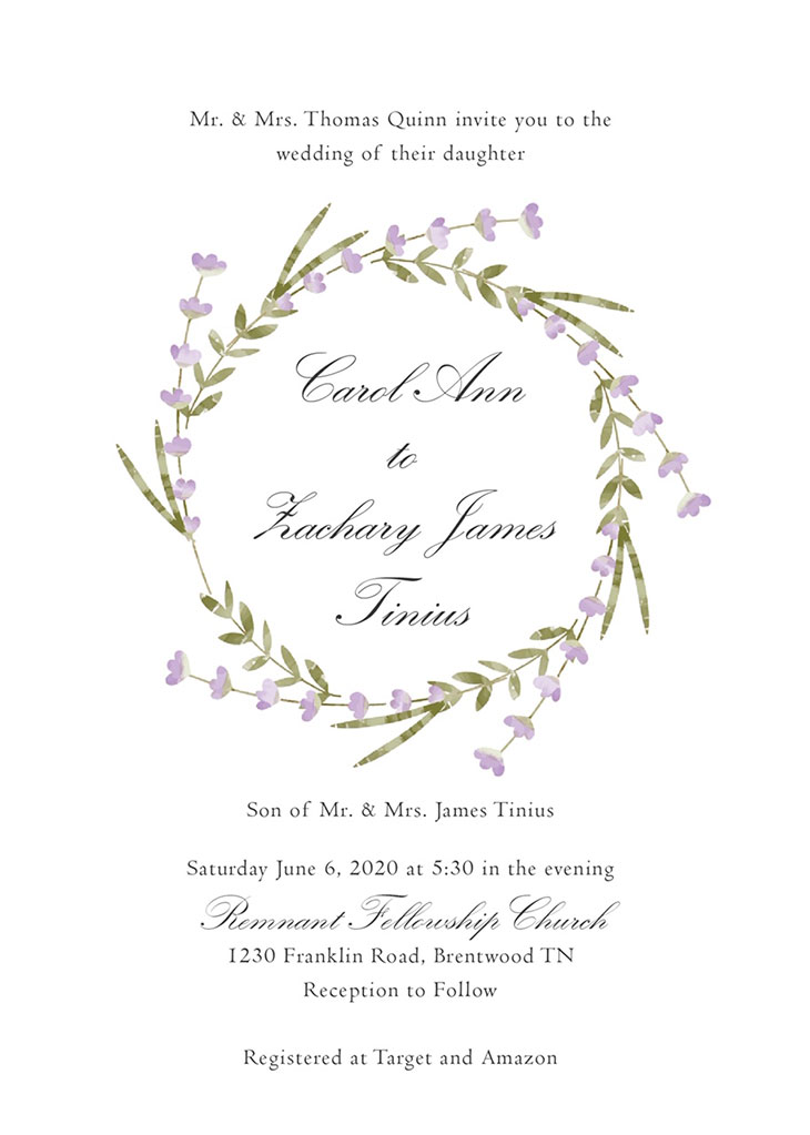 Quinn-Tinius Remnant Fellowship Wedding Invitation