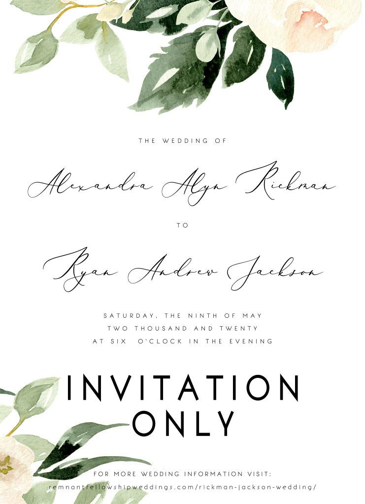 Rickman-Jackson Remnant Fellowship Wedding Invitation