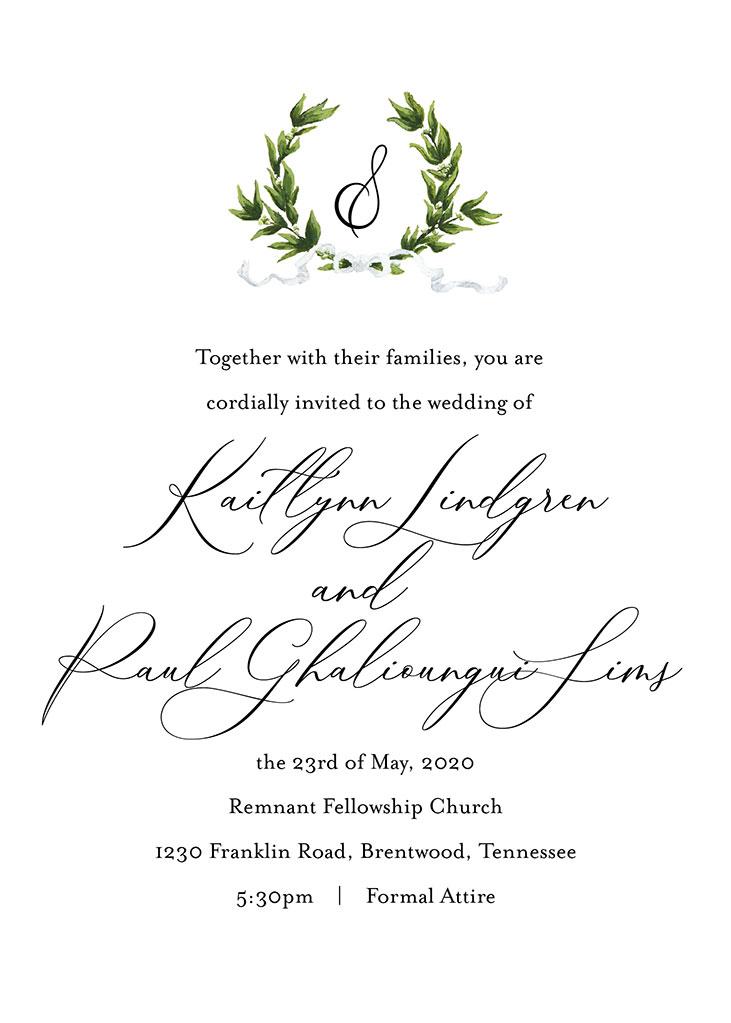 Lindgren-Sims Remnant Fellowship Wedding Invitation