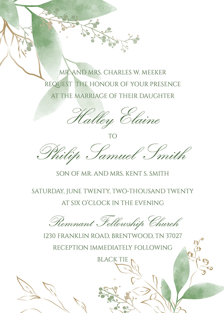 Meeker-Smith Remnant Fellowship Wedding Invitation