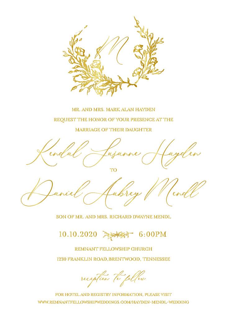 Hayden-Mendl Remnant Fellowship Wedding Invitation
