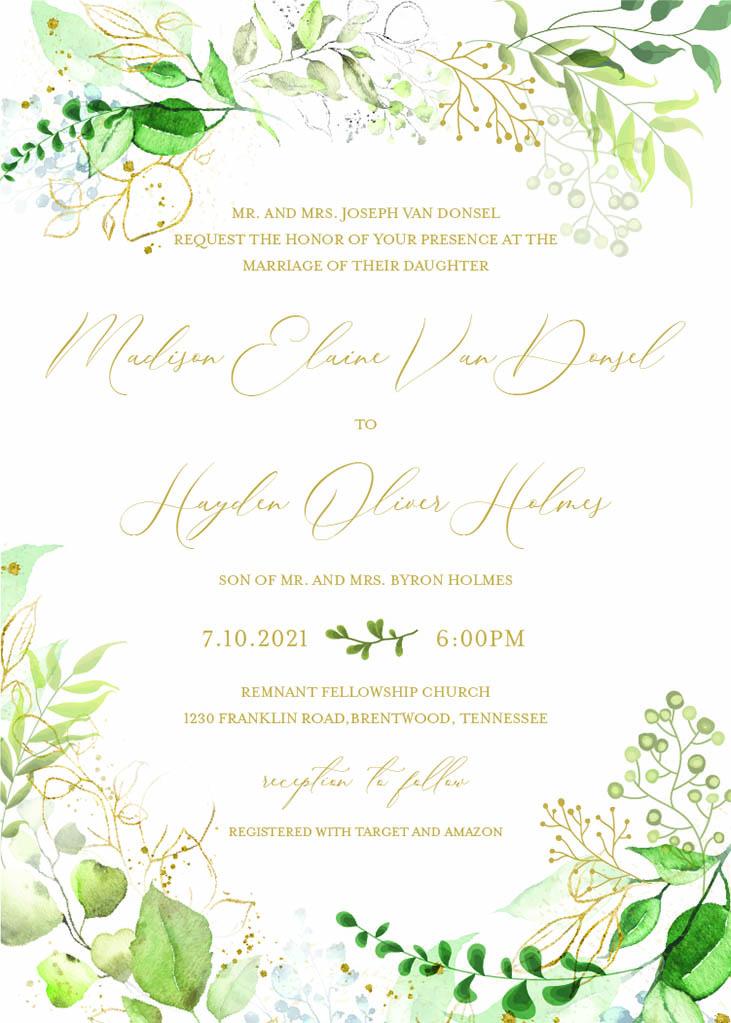 VanDonsel-Spredemann Remnant Fellowship Wedding Invitation