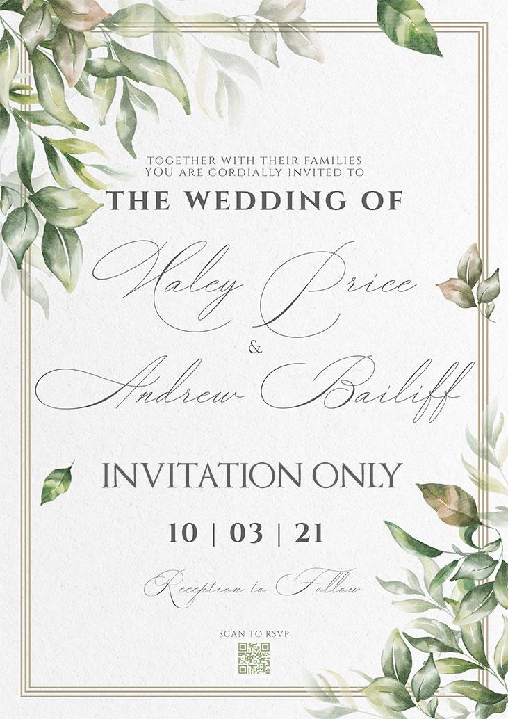 Price-Bailiff Remnant Fellowship Wedding Invitation
