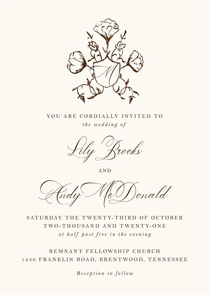 Brooks-McDonald Remnant Fellowship Wedding Invitation