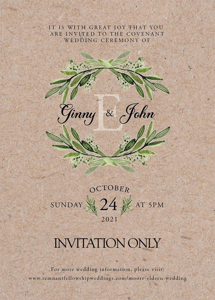 Moore-Eldeen Remnant Fellowship Wedding Invitation